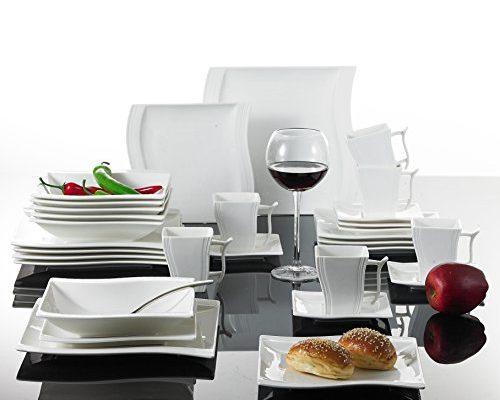 malacasa serie flora tafelservice 30 teilig kombiservice weiss porzellan produkttipp. Black Bedroom Furniture Sets. Home Design Ideas